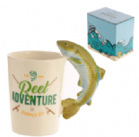 Fishing Shaped Handle Mug with a Leaping Fish on Handle